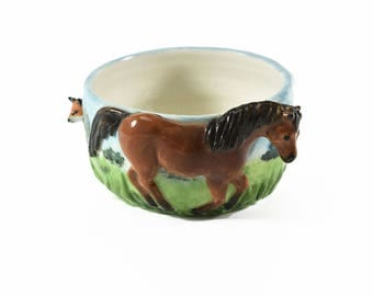 candy dish or trinket dish with high relief horse, fox & hound figurines / hand crafted by Anita Reay / ceramic pot plant planter
