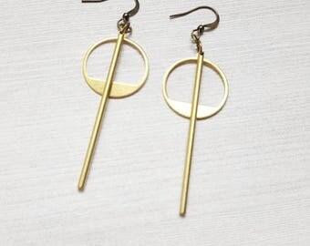 Gold Minimalist Earrings Long Earrings Geometric Earrings Modern Jewelry Simple Earrings Drop Earrings  Circle Earrings Gold Bar Earrings