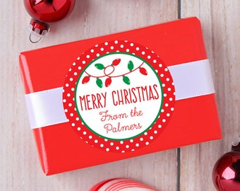 Christmas Stickers - Personalized Gift Labels - Christmas Lights - Sheet of 12 or 24