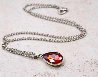 Bright Red Necklace, Red Rhinestone Teardrop Pendant, Sparkly Cherry Red Jewel, Estate Style Jewelry, Silver Chain