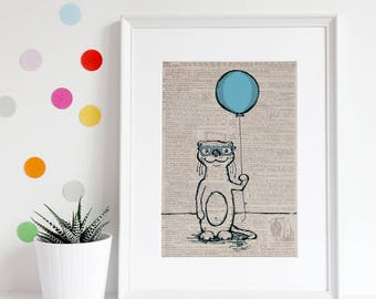 Otter art, vintage dictionary page art, wall art, animal, balloon, black and white, illustration, top best selling, gift under 30, art print
