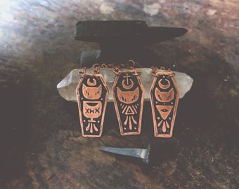 Cats and Coffins - Copper Coffin necklace - Handmade necklace