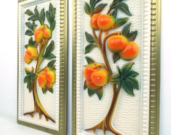 molded plastic. 3D picture. fruit trees. oranges. citrus fruit. pear tree. relief art. mid century modern. home decor. pair of pictures. age