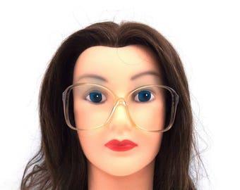 oversize eyeglasses. deadstock vintage. plastic eyeglass frames. square eyeglasses. translucent gray. vintage eyeglasses. eye glasses. 293