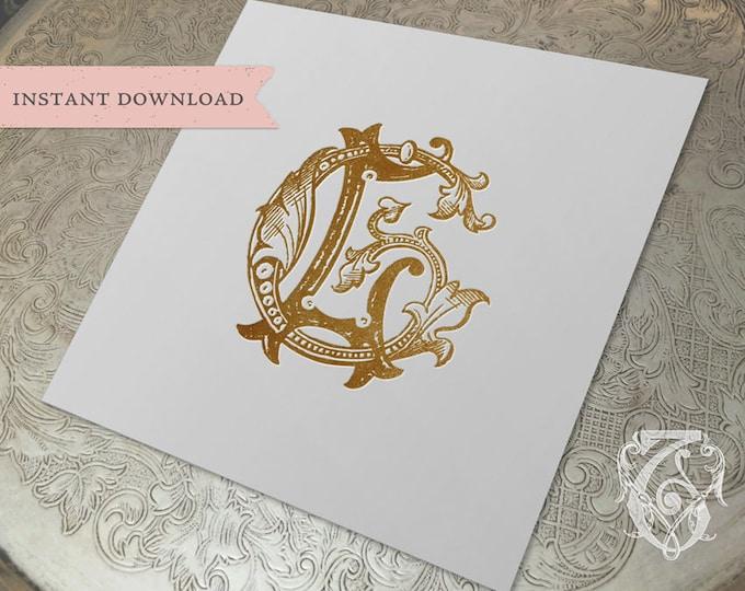 Vintage Wedding Monogram GL LG Digital Download G L