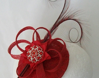 Scarlet Poppy Red Lace Isadora Curl Feather Sinamay Loop & Rhinestone Pearl Wedding Fascinator Mini Hat - Custom Made to Order
