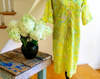 60s Lady Bayard Shirtdress Shift Dress Button Down Psychedelic Pattern Pastel Yellow Green Pink Orange Blue Great Summer Travel Wear