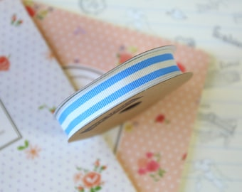 Pastel Blue and White Stripe Grosgrain ribbon