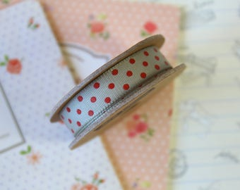 Grey & Red Polka Dots grosgrain ribbon