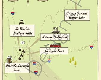 Custom Wedding Map with Itinerary -- Asheville, North Carolina