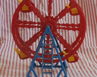 Acme Toys Hard Plastic Toy Ferris Wheel, Vintage Made in U.S.A. Old Vintage Red and Blue Miniature