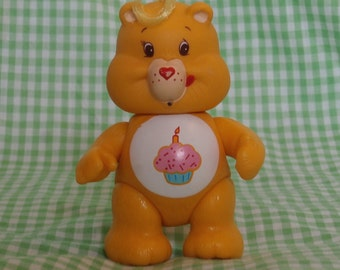 Vintage Birthday Bear Care Bear Posable Figure, A.G.C. 1983 1980s Era Cuteness Yellow with Cupcake