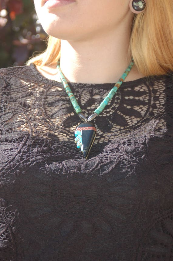 "Vintage Native American Zuni Turquoise Necklace ""Stone Face"""