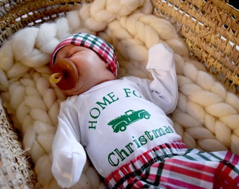 Baby Boy Coming Home Outfit Christmas. Newborn Christmas Outfit. Hospital Outfit. Christmas Truck. Tree Farm.