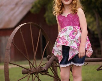 Phoenix Top and Dress PDF Sewing Pattern, including sizes 12 months-12 years, Girls Dress Pattern