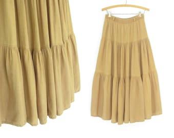 Vintage Maxi Skirt * 90s Skirt * Mustard Flax Skirt * Full Sweep * Medium