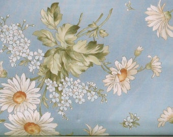White Daisies with Green Leaves on Blue Cotton Quilt Fabric, Focal Fabric, Gentle Breeze by Maywood Studios, Fat Quarter, Yardage, MAS8510-B
