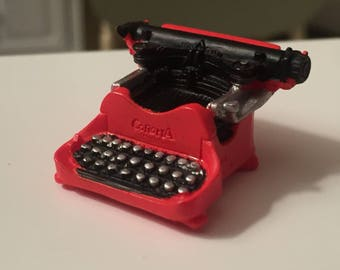 Miniature Typewriter, Vintage Red Corona Typewriter, Dollhouse Miniature, 1:12 Scale, Dollhouse Accessory, Decor, Office