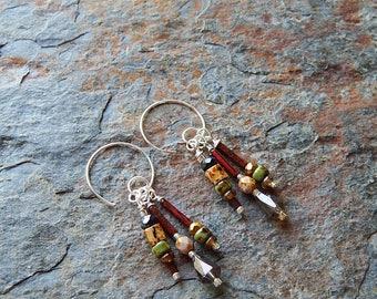 Picasso glass dangle earrings - threader earrings - earthy boho style - earth tones - green and brown - bohemian jewelry - little dangles