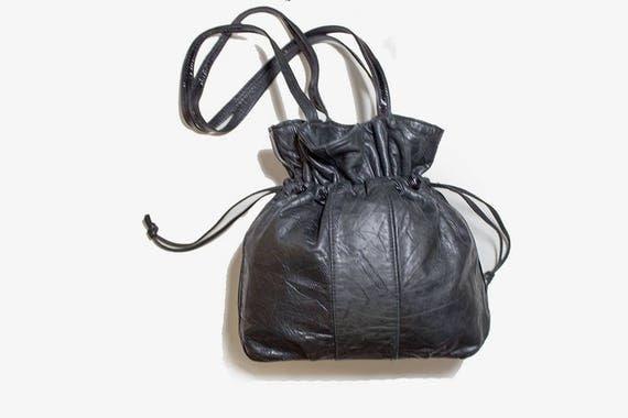 Vintage Leather Bucket Bag / Black Bucket Bag / Black Bucket Purse / Drawstring Purse / Leather Drawstring Purse
