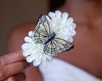 Double Antique White Pom Pom Hair Flower with Ivory Monarch Butterfly // High-End Fashion Accessories / Luxury Hair Styling Headpieces
