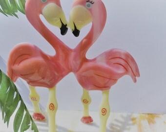 Fused Glass Flamingos, Glass Figurines, Bathroom Decor, Home Decor, Tropical Decor, Wedding Gift, Beach Decor, Wedding Cake Topper