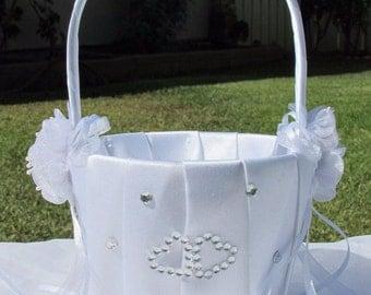 Wedding Gown White Satin Bridal Flower Girl Basket