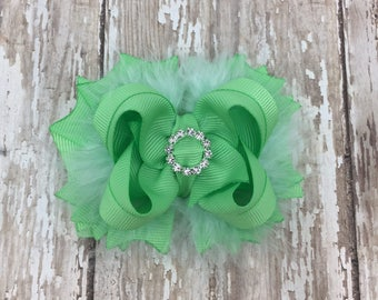 Mint Baby Bow, Baby Shower Gift, Baby Girl Gift, Boutique Bow, Small Mint Bow, Newborn Headband, Newborn Bow, Mint Baby Hair Clip