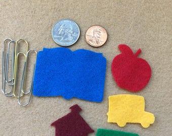 School Felt Shapes-School Theme Decorations-Bible Journaling-Planner-Embellishments-Iron On Applique-Felt Shapes-Teacher Gifts-Quiet Books