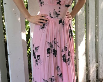 30s Pink Print Dress Sheer Black Floral XS