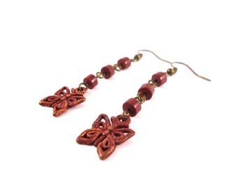 Red Butterfly Earrings - Red Tribal Earrings - Long Summer Earrings - Long Rustic Earrings - Red Butterfly Jewelry - Boho Red Earrings