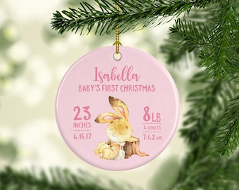 Baby Christmas Ornament Babys First Christmas Ornament Girl Babys First Christmas Ornament Personalized New Baby Christening Gift Girl Pink