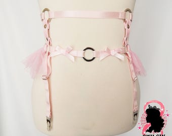 IMMEDIATE DISPATCH: Pink Faux Leather Frill Garter Belt, Pink Ruffle Garter Belt, Pink Faux Leather Garter Belt, Pink O Ring Garter Belt