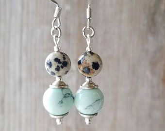 Light Turquoise Earrings - Light Blue Earrings - Turquoise and Silver Earrings - Light Blue Dangle Earrings - Light Turquoise Blue