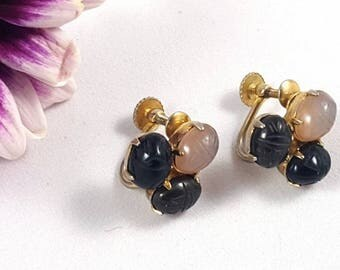 Vintage Carved Onyx & Moonstone Scarab Screw Back Earrings