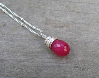 Children Birthstone Jewelry, Girl Ruby Necklace, Sterling Silver, Natural Ruby Gemstone, July Birthstone Necklace, Child Ruby Pendant