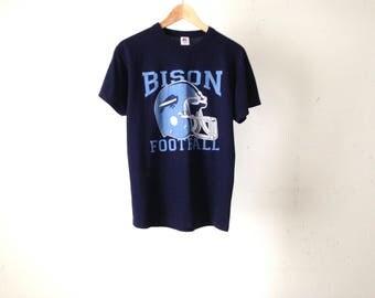 vintage BISON FOOTBALL blue on blue vintage men's athletic sports t-shirt faded vintage 90s