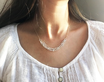 Mixed Metal Necklace, Silver Necklace, Chain Necklace, Everyday Necklace