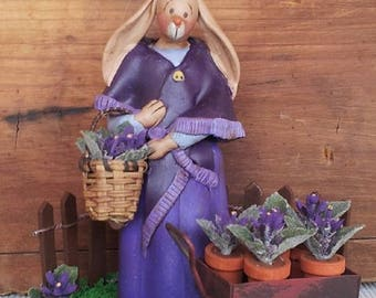 "hand sculpted polymer clay ""Miss Violet"" rabbit figurine"
