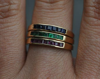 14k Solid gold stacking rings - Vintage size 6.5-6.75  ruby emerald sapphire stacking gold rings