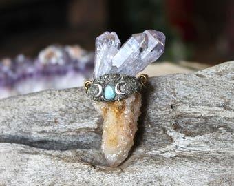 Triple Moon Goddess Spirit Quartz Necklace - Tanzine Aura Quartz Jewelry - Purple Crystal Necklace - Moon Jewelry - Crescent Moon Necklace