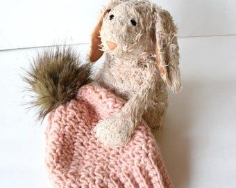 SNOW BUNNY Beanie In Powder Pinkwith Faux Fur Pom Pom, Wool, MMIM, Handmade, Crochet, Winter Hat, Kids, Baby, Small, Nordic baby