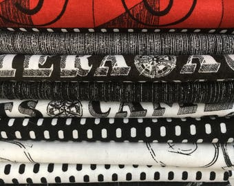 Lights Camera Action from Windham Fabrics - 13 Fat Quarters of red, black and white movie motifs