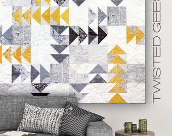 "Twisted Geese Pattern by Brigitte Heitland for Zen Chic - 65"" x 65"""
