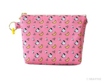 Orange Apollo's Flat Bottom Zipper Pouch for Bunny Lovers (Lop Eared Bunny Illustration)