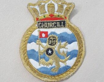 Churcill Patch- Churcill Crest- Vintage Patch- Vintage Applique- Metallic Gold Lion- Family Crest