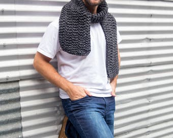Charcoal Dark Grey Long Unisex Garter Hand Knitted Scarf, Ready to ship