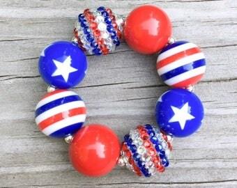 4th of July Bracelet, Red White and Blue Bracelet, Chunky Bracelet, July 4th Jewelry, Bubblegum Bracelet, Chunky Necklace, Patriotic Jewelry