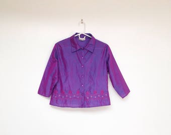 Vintage 1990s Pure Silk Iridescent Purple and Indigo Embroidered Shirt