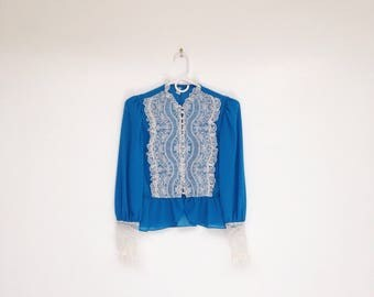 Vintage 1970s Bright Blue Lace Bib Button Down Cropped Blouse